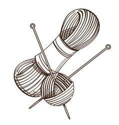 Set of monochrome knitting threads and clew with vector