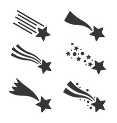 shooting stars or comet icons set vector image vector image