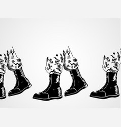 Sketch of army boots vector