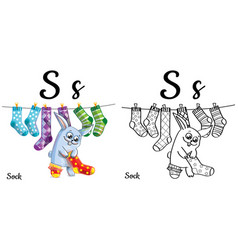 sock alphabet letter s coloring page vector image