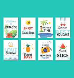 summer doodle poster beach party banners with vector image