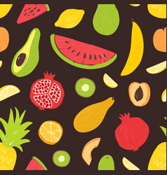 summer seamless pattern with tropical organic ripe vector image