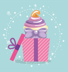 sweet and delicious cupcake with gift vector image