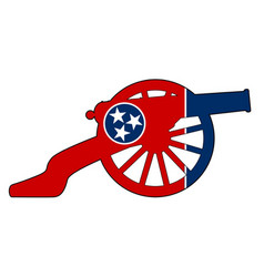 tennessee flag with civil war cannon silhouette vector image