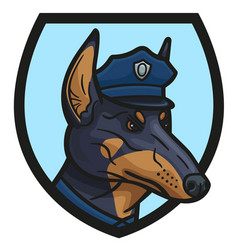 The logo depicting the head of a doberman cop vector