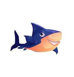toothed shark underwater animal cartoon character vector image