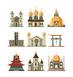traditional church set christian evangelistic and vector image