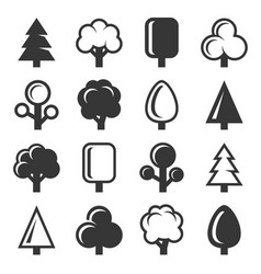 tree icon set on white background vector image