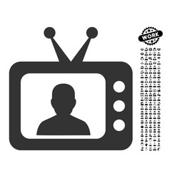 Tv speaker icon with job bonus vector