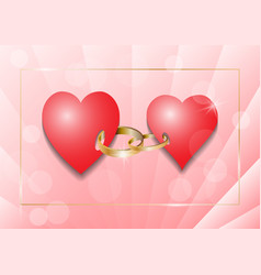 two hearts connected by rings vector image