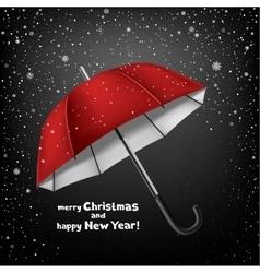 umbrella snow and Christmas greeting vector image