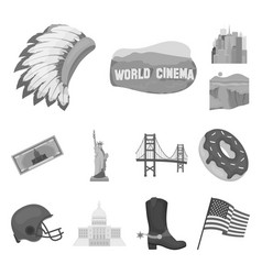 Usa country monochrome icons in set collection vector