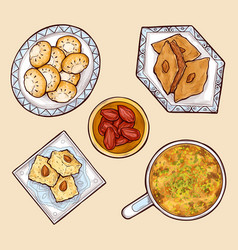 Various oriental sweets cartoon collection vector