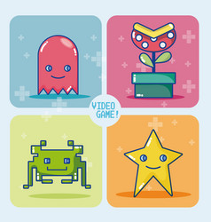 Videogame retro characters vector