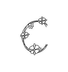 Vintage floral bold letter c logo spring classic vector