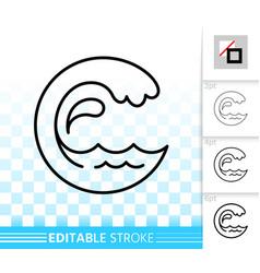 Water wave simple black line splash icon vector