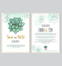 wedding invitation template with cute succulent vector image