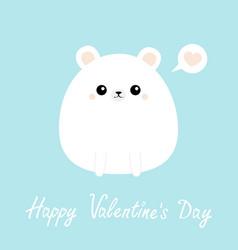 White bear icon happy valentines day funny head vector