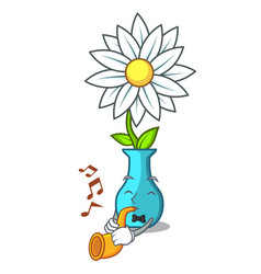 with trumpet modern plant in a glass vase cartoon vector image