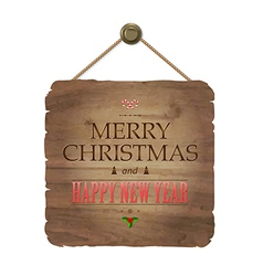 Wooden Sing With Christmas Text vector image