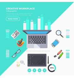 Workplace Objects Infographic Set vector image