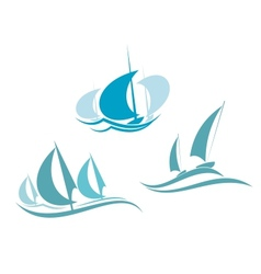Yachts and sailboats vector image