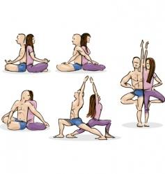 yoga couple vector image