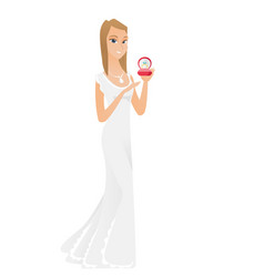 young bride holding wedding ring in box vector image