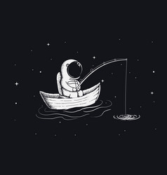 astronaut fisherman is fishing in space vector image vector image