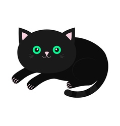 Cute lying black cartoon cat with moustache vector image vector image