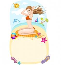 beach card vector image