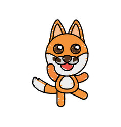 drawing fox animal character vector image vector image