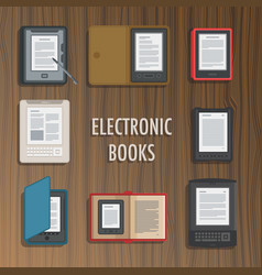 Electronics reader book collection vector