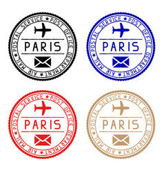 paris mail stamps colored set of round impress vector image vector image