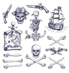 Set of vintage hand drawn pirates designed vector image