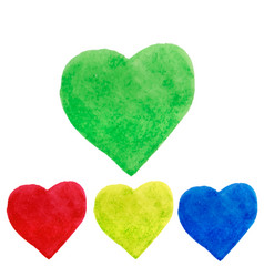 watercolor hearts shape splashes green blue vector image vector image