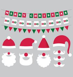 christmas decoration and santa hats and beard vector image vector image