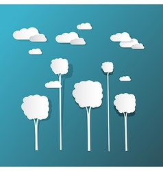 Paper Clouds and Trees on Blue Background vector image vector image