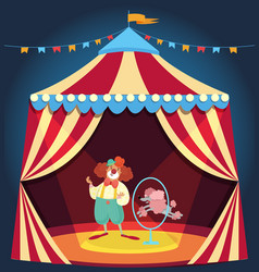 Clown showing performance with poodle dog jumping vector
