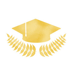 golden graduation cap with laurel wreath vector image vector image