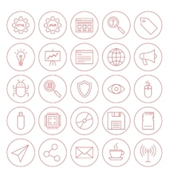 Line Computer Circle Icons vector image