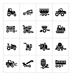 Set icons of agricultural machinery vector image vector image
