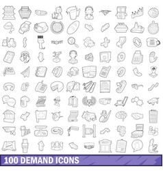 100 demand icons set outline style vector