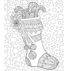 Adult coloring bookpage a christmas stocking vector
