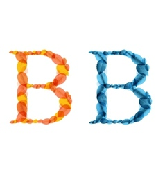 alphabet letters made from orange and blue leafs vector image