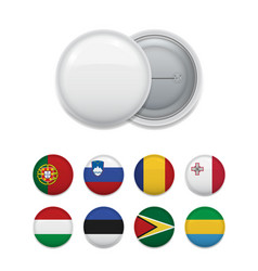 Arranged plenty flags for round badge vector