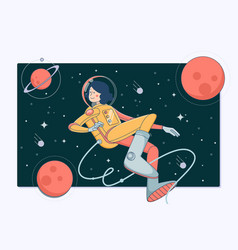 Astronaut in outer space cosmos discovery vector