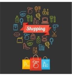 Beauty shopping concept card vector