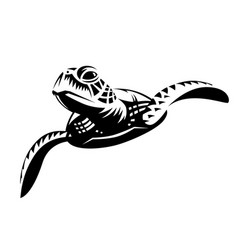 black graphic sea turtle swimming front view vector image