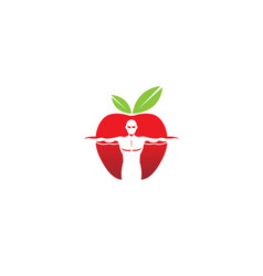 Bodybuilder apple logo vector